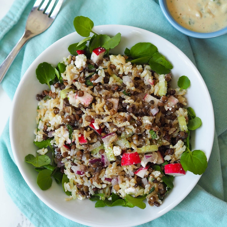 Crunchy Lentil and Brown Rice Salad with Tahini Dressing
