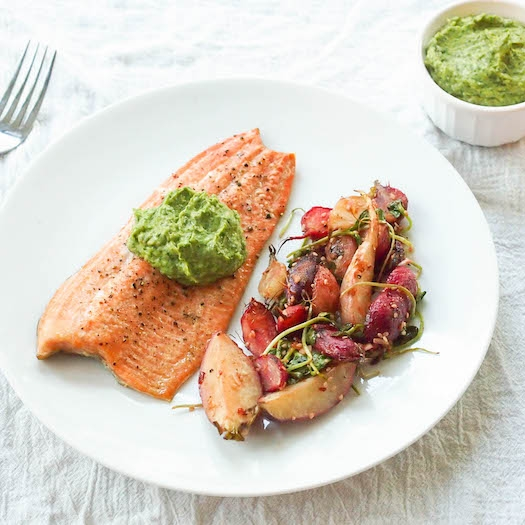 Cedar Plank Trout with Asian Guacamole
