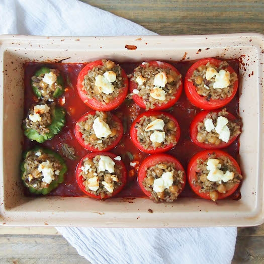 Tomatoes Stuffed with Pesto Brown Rice