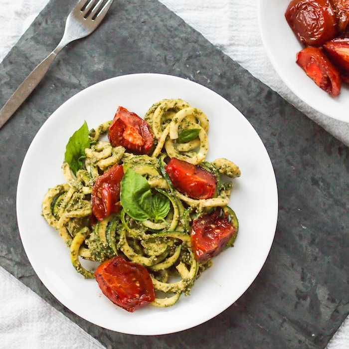 Zoodles with Creamy Vegan Pesto and Roasted Tomatoes