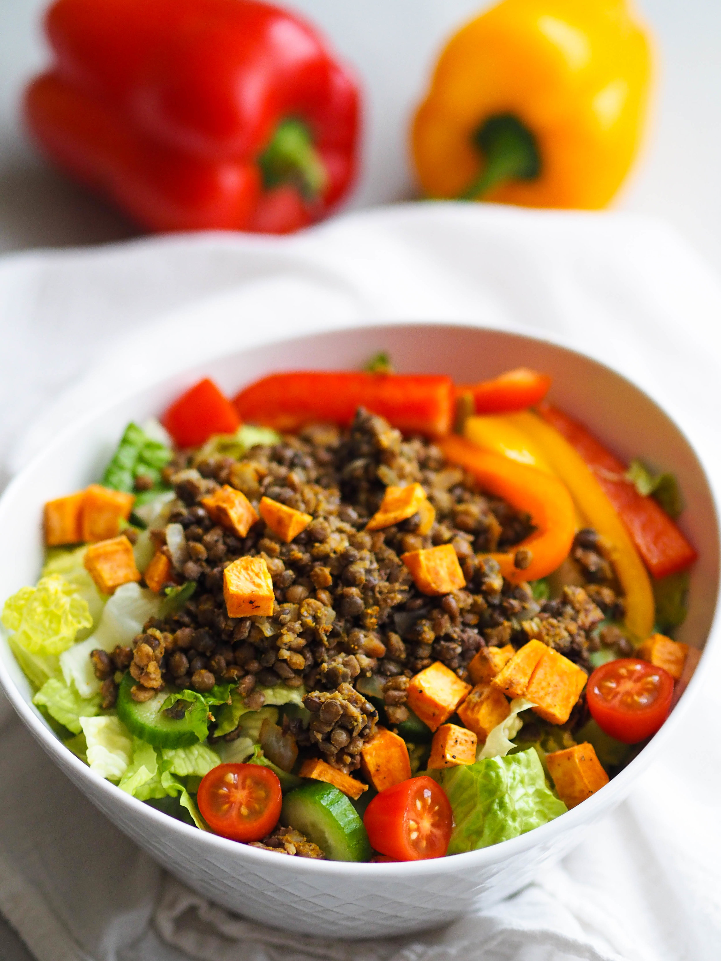Curry Lentil and Sweet Potato Salad with Crunchy Salad Mix