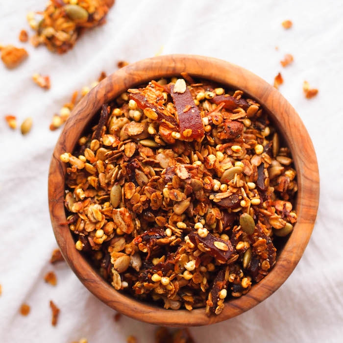 Savory Curry Coconut Granola with Spicy Mango