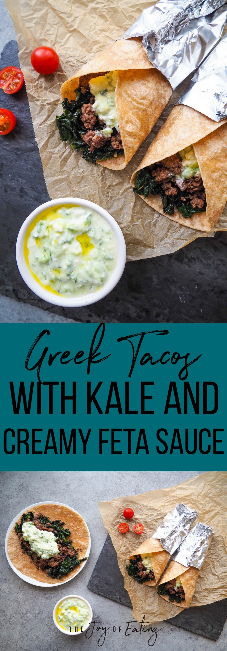 Make these Greek Tacos with Kale and Creamy Feta Sauce as a meal the whole family will love! #Greek #beef #taco #kale