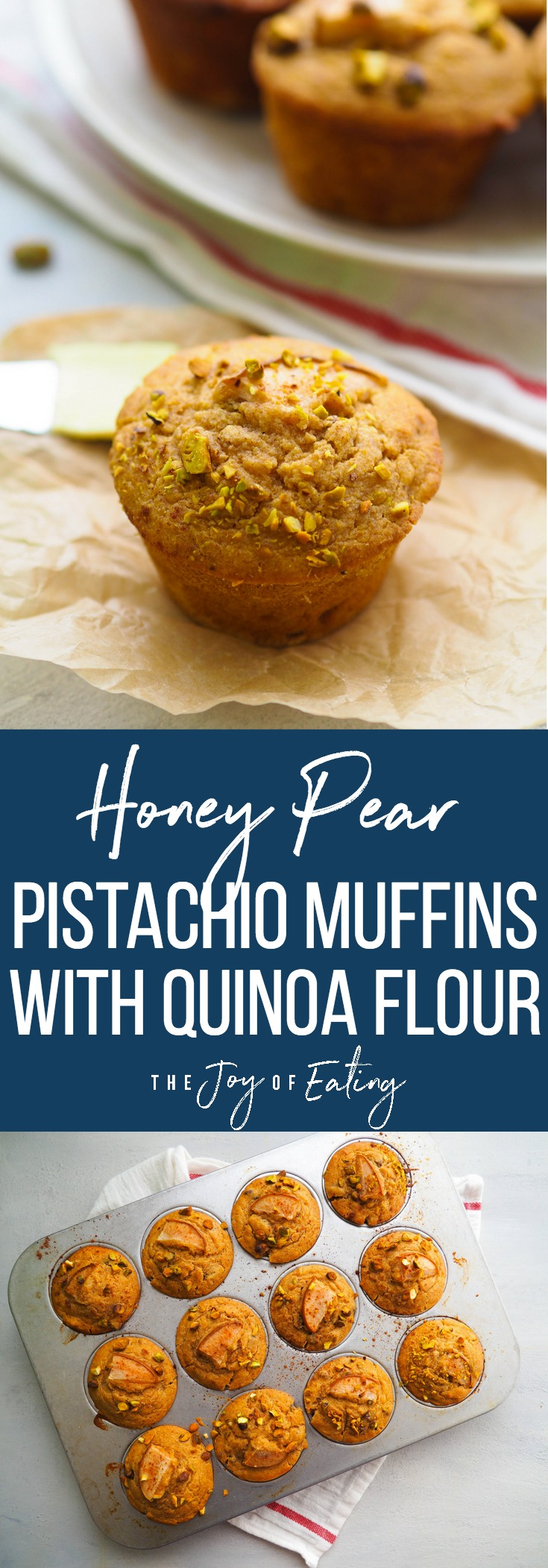 These honey pear pistachio muffins are packed with fiber and protein from quinoa flour! #baking #muffin #healthy #breakfast