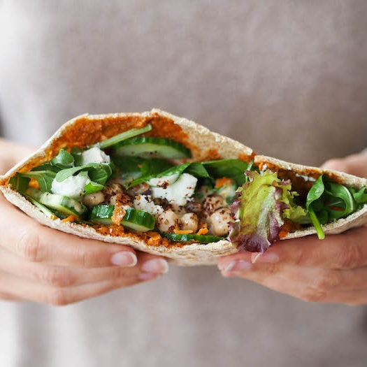 Chickpea and Yogurt Pita with Muhammara