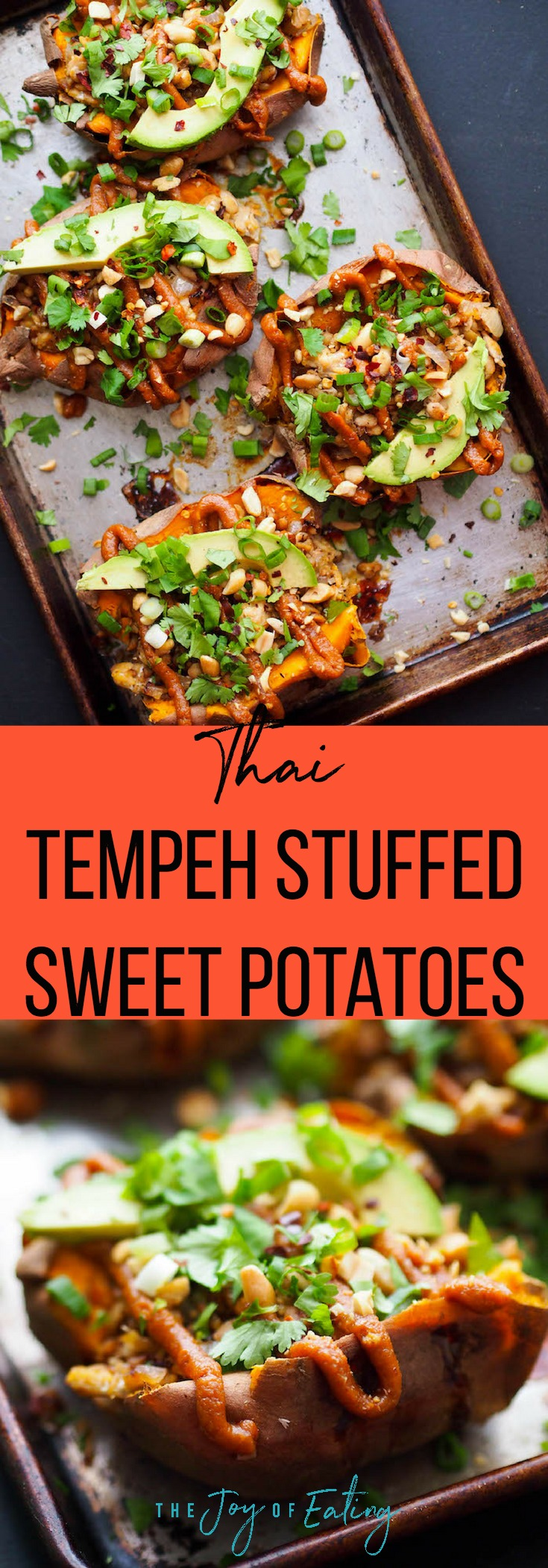 These Thai tempeh stuffed sweet potatoes are filled with spiced crumbled tempeh, avocado, and a spicy peanut sauce! #glutenfree #vegan #vegetarian #sweetpotato #healthyrecipe