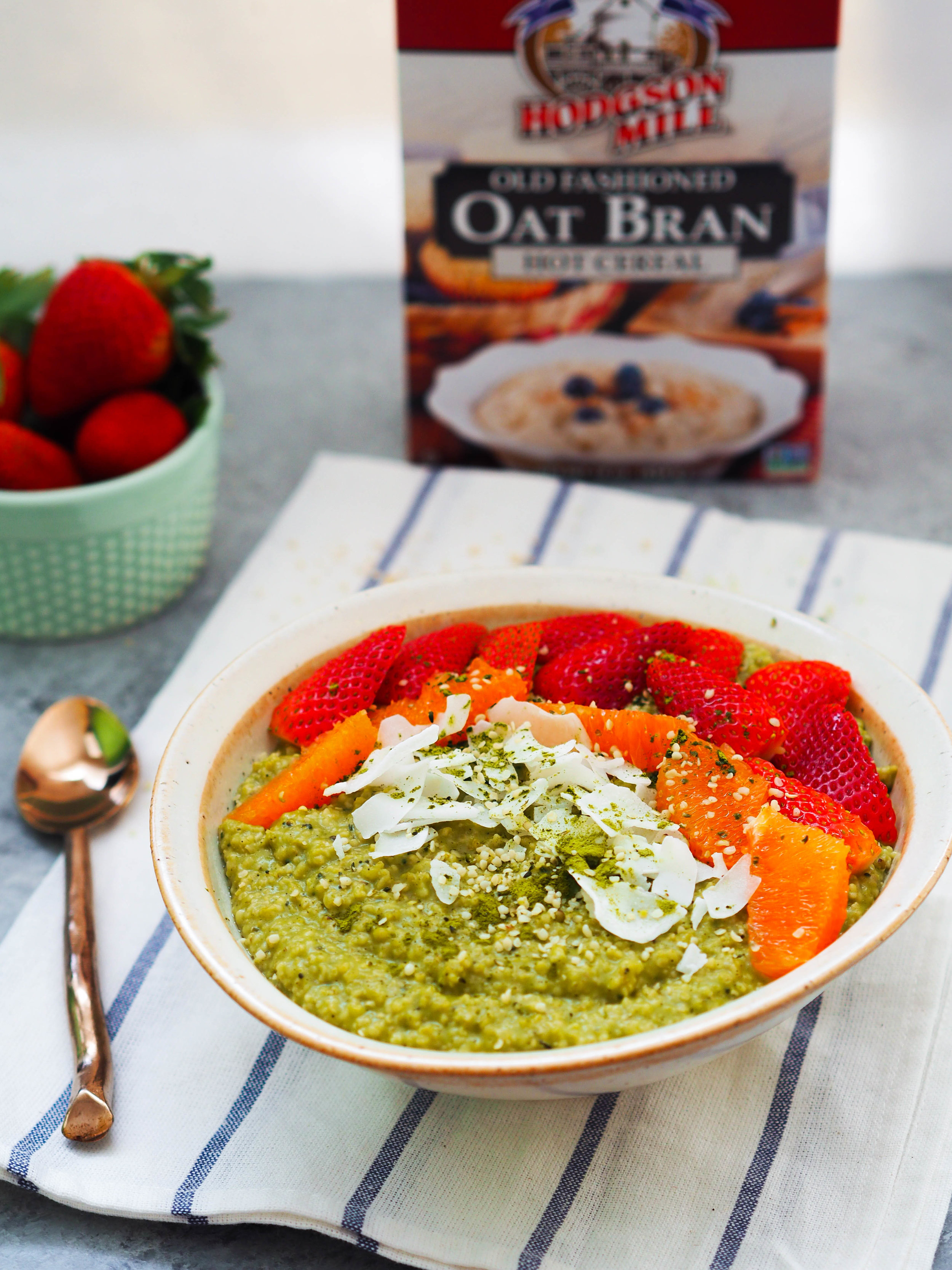 This matcha coconut toasted oat bran bowl is packed with filling fiber for a breakfast that sticks! #oatmeal #vegan #matcha #healthyrecipe #breakfast #glutenfree
