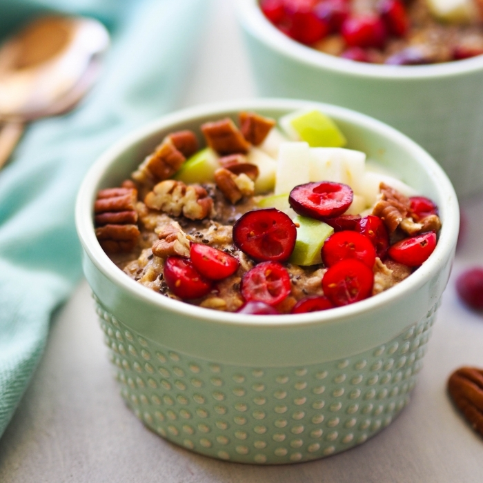 High Protein Cranberry Apple Oatmeal