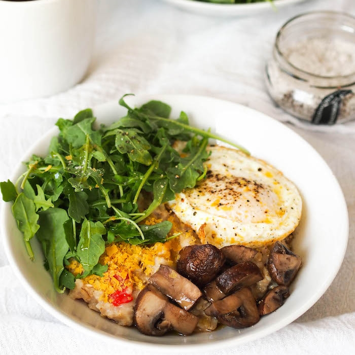 Savory Oatmeal with Fried Egg, Sauteed Mushrooms and Arugula