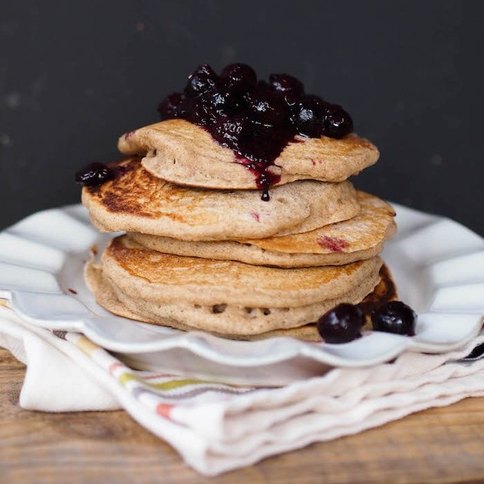 Classic Buttermilk Pancakes with Blueberry Sauce