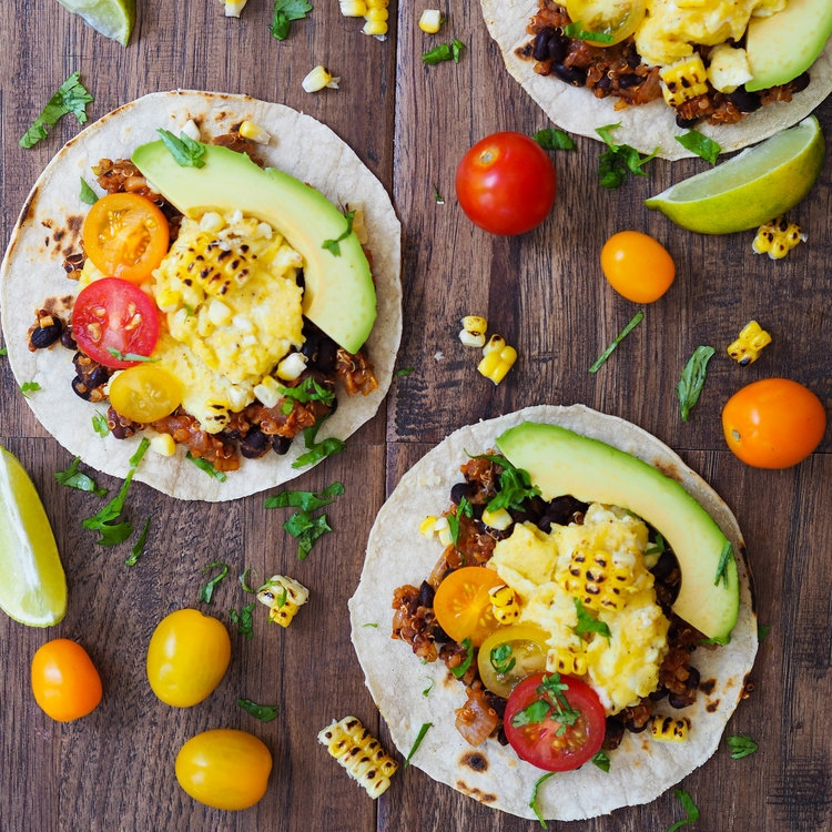 Spicy Black Bean and Quinoa Breakfast Tacos