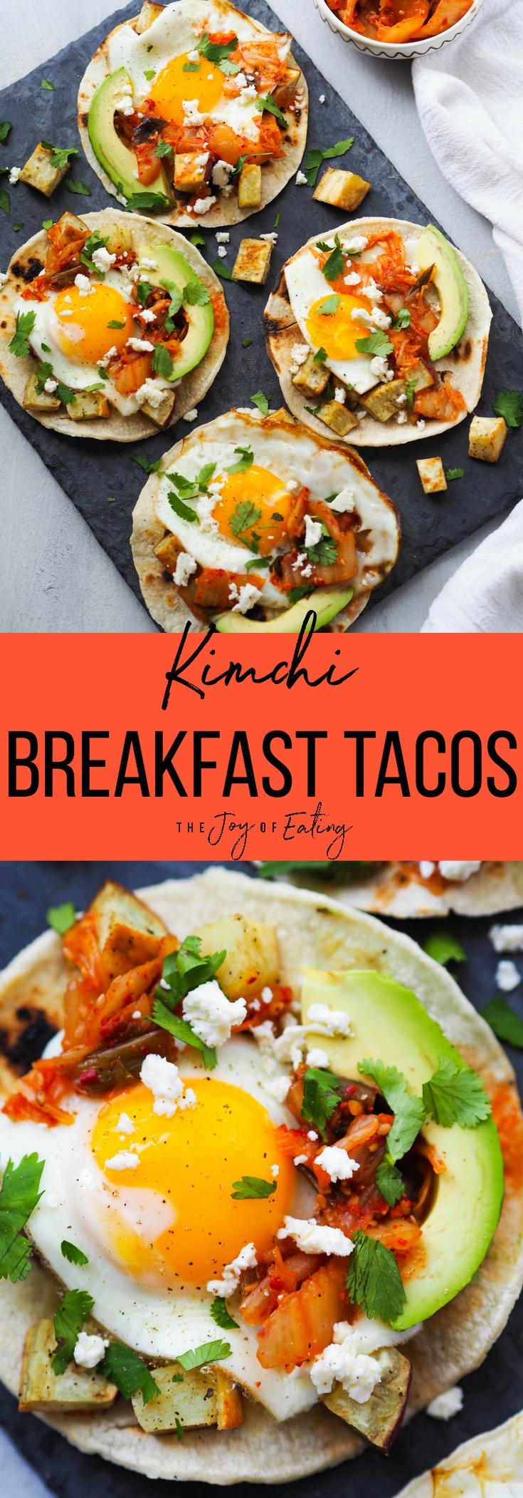 Make these easy kimchi breakfast tacos! They're loaded with avocado, fried egg, roasted Japanese sweet potatoes and spicy kimchi! #taco #breakfast #glutenfree #vegetarian #breakfasttaco #healthyrecipe #fermentedfood