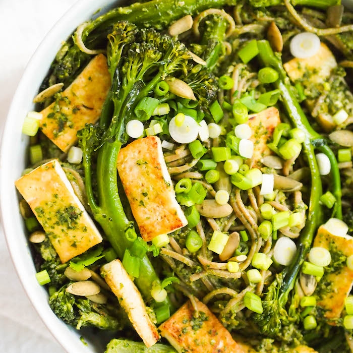 Cilantro Pesto Soba Noodle Bowl with Broccolini and Seared Tofu