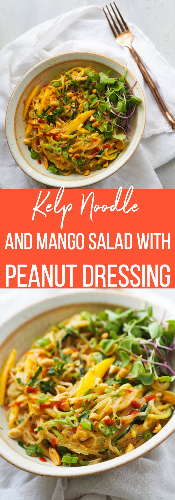 Make this kelp noodle and mango salad with peanut dressing for a perfect little light lunch! Bulk it up with grilled chicken or tofu to add more protein! If you've never tried kelp noodles, you'll love their slightly chewy texture and how they soak up the yummy peanut sauce! #noodle #salad #lunch #glutenfree #vegan