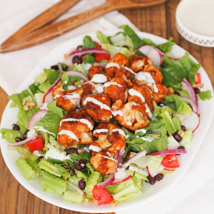 Crispy Barbecue Cauliflower Salad with Yogurt Ranch