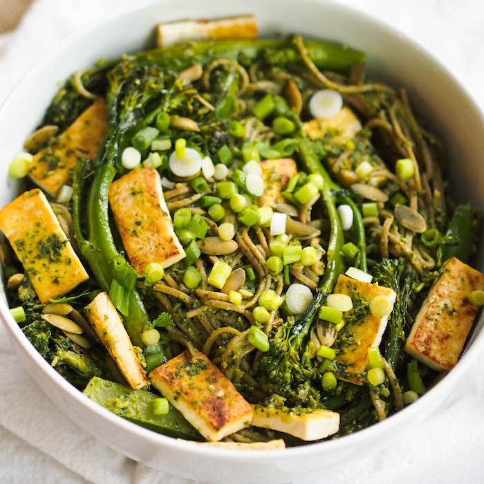 Cilantro Pesto Soba Noodle Bowl with Broccolini and Seared Tofu