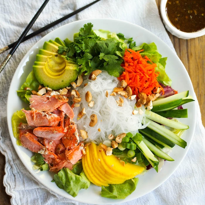 Curry Salmon Noodle Bowl with Mango