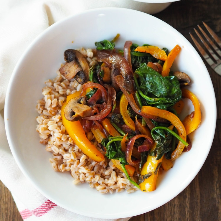 Lemon Pepper Sauteed Veggies with Farro