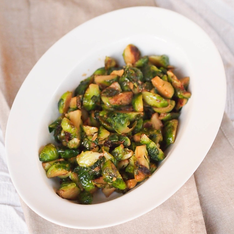 Maple Miso Roasted Brussels Sprouts