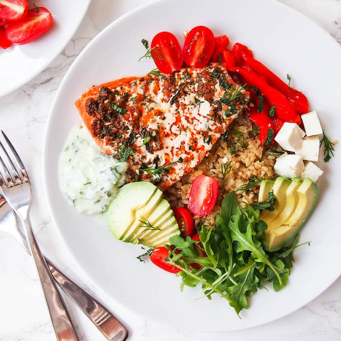 Salmon Souvlaki with Cauliflower Rice and Tzatziki