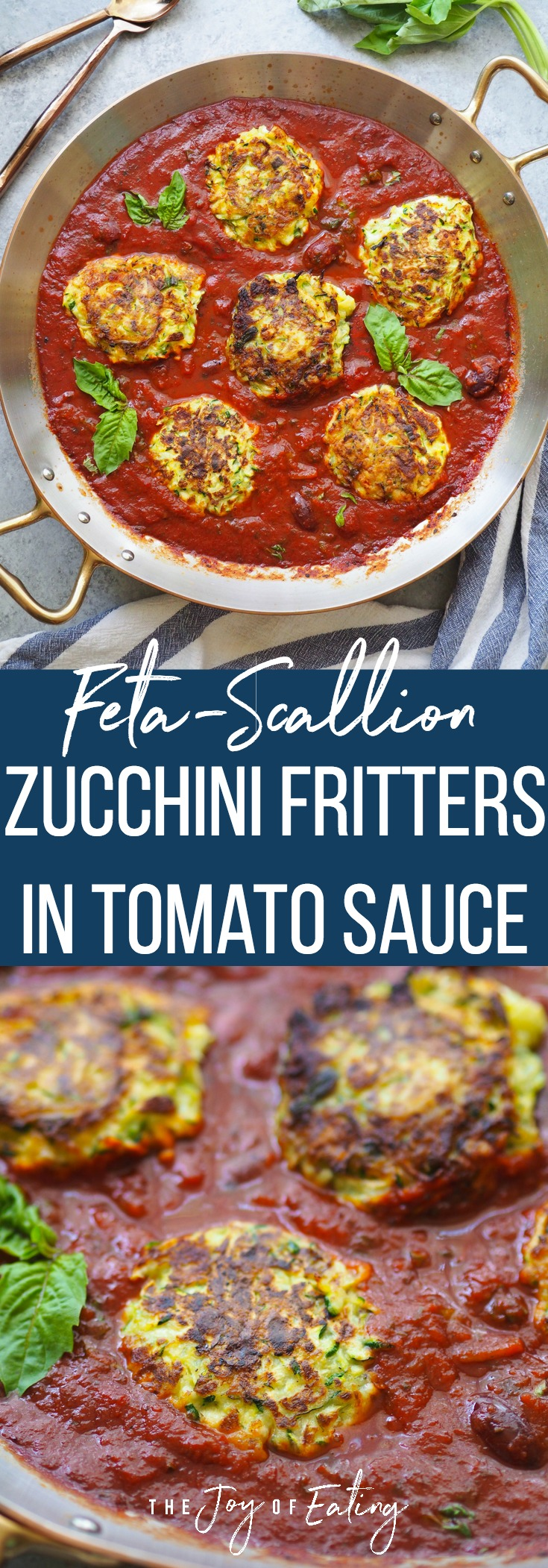 Use up your summer zucchini with this recipe for feta-scallion zucchini fritters in a tomato olive sauce! Perfect summer dinner paired with rice, pasta or other grain! #summer #zucchini #easyrecipe #vegetarian #glutenfree
