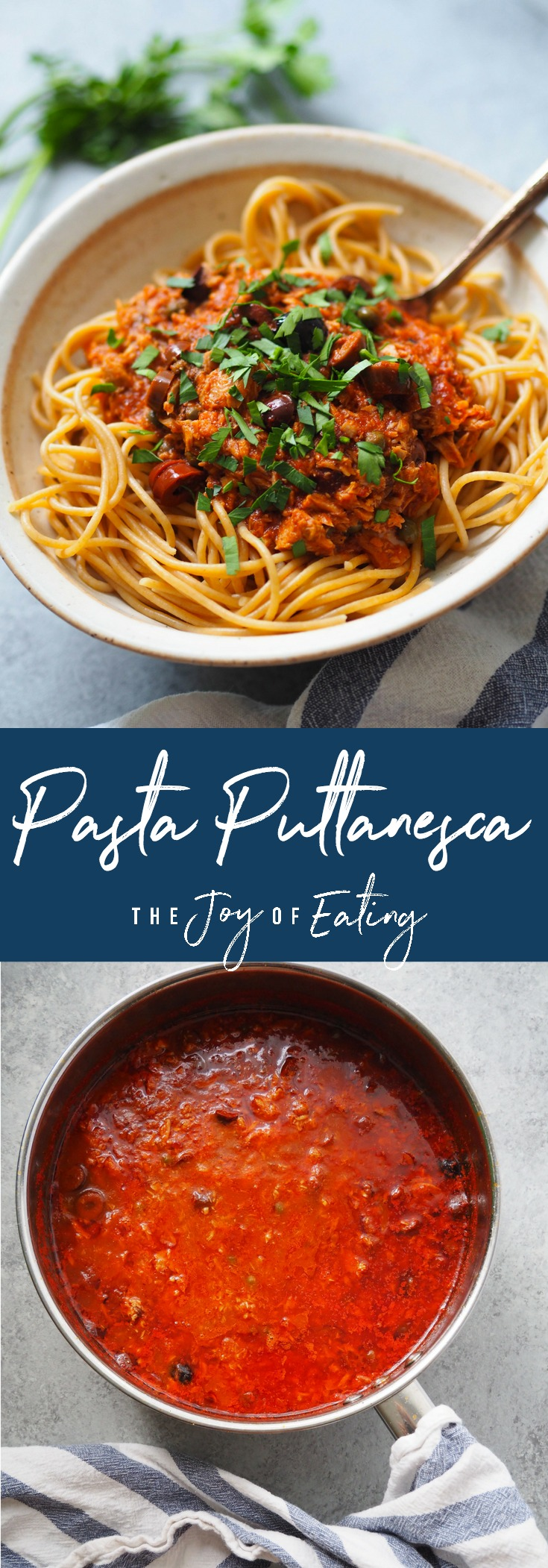 Make this easy pasta puttanesca with all pantry ingredients! It's my favorite pasta dinner for busy weeknights! #pasta #pastaputtanesca #tuna #spaghetti #healthyrecipe