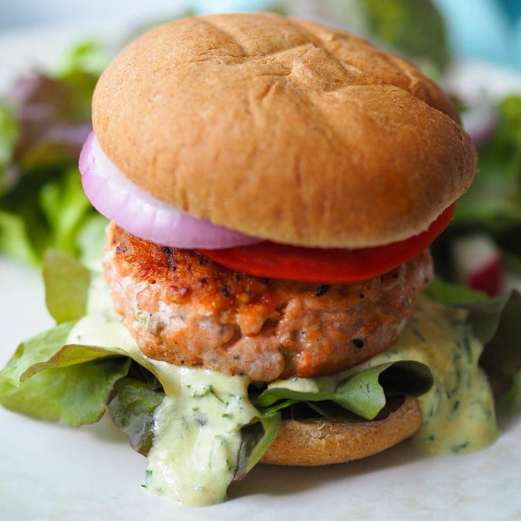Everything Bagel Salmon Burger