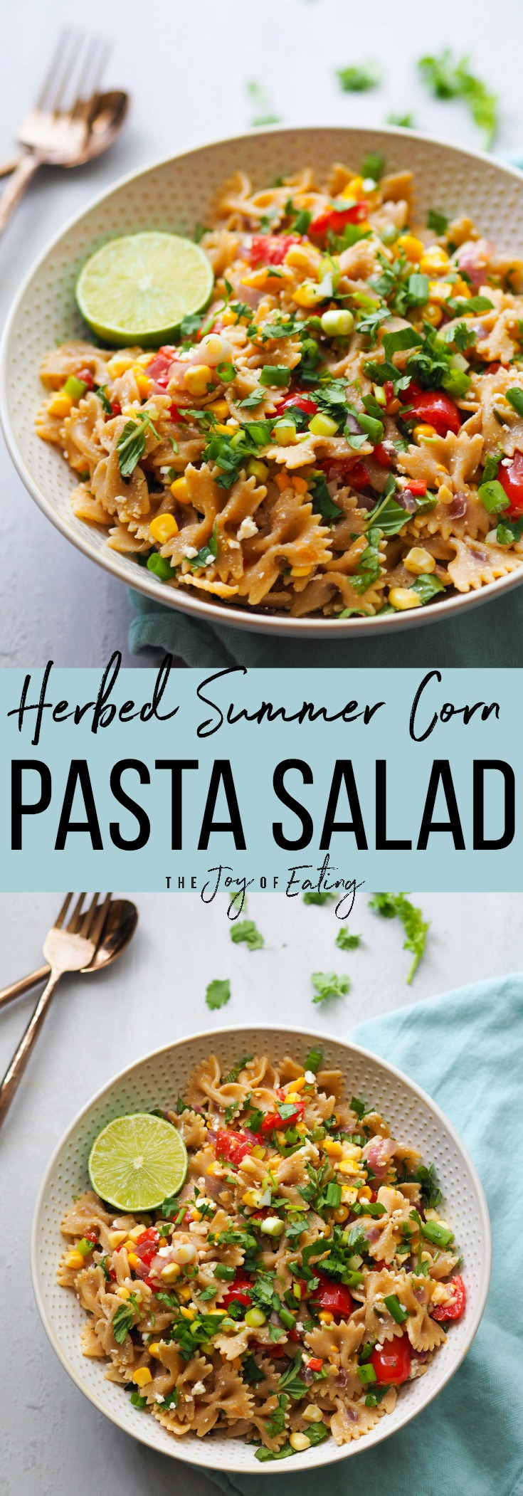 My favorite pasta salad for summer entertaining! Herbed summer corn pasta salad is made with sweet summer corn, sauteed until crisp-tender, red peppers, briny feta and tons of herbs! #pastasalad #tailgating #entertaining #corn #summer #barbecue #sidedish #salad #vegetarian