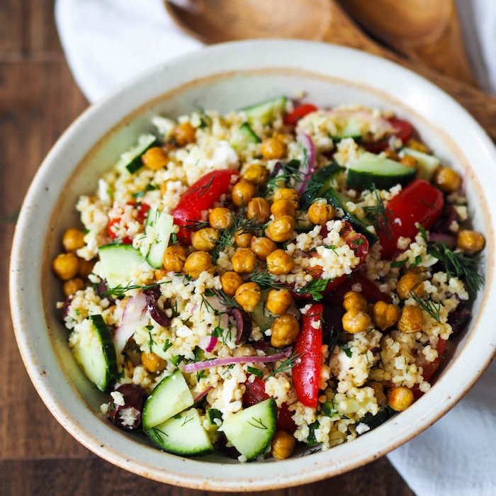 Mediterranean Millet Salad with Crispy Roasted Chickpeas
