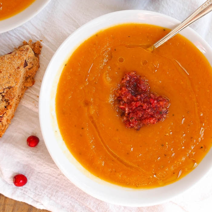 Butternut Squash Soup with Cranberry Salsa