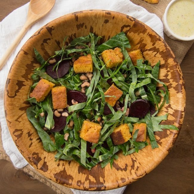 Collard Green Salad with Beets, Black-Eyed Peas and Cornbread Croutons with Buttermilk Dressing