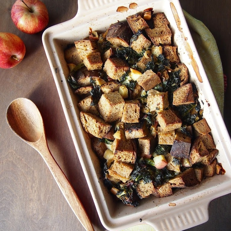 Kale, Caramelized Onion and Apple Stuffing
