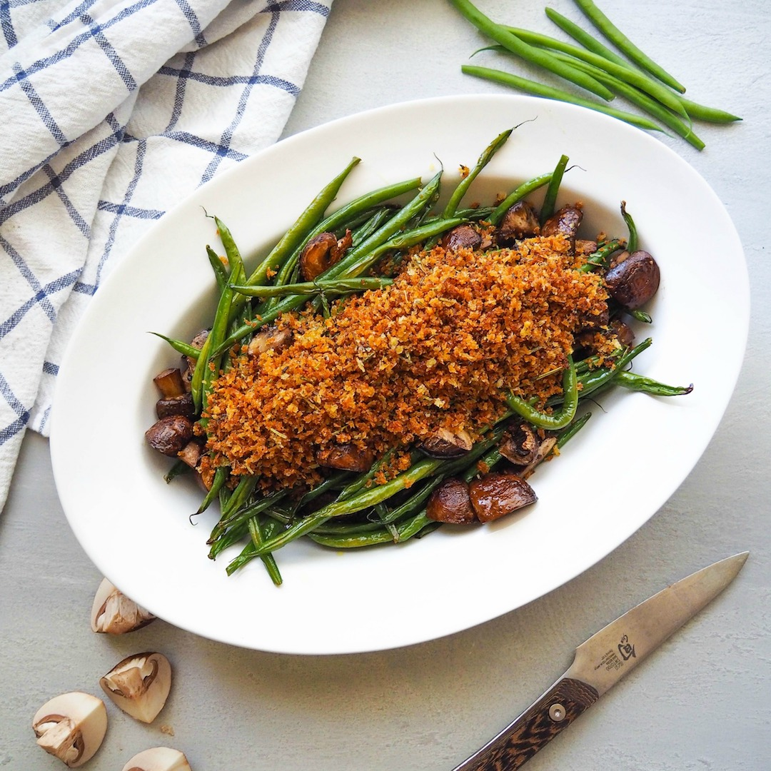 Roasted Green Beans and Cremini's with Herbed Breadcrumbs