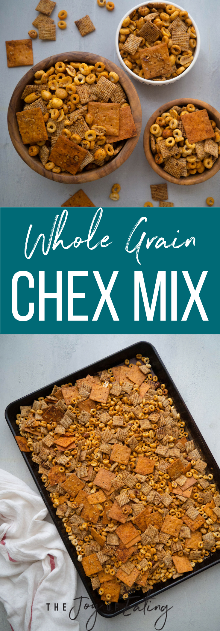 Make this whole grain chex mix as a healthier version of everyone's favorite snack! With fiber from whole grains plus protein and healthy fats from the nuts, it's super satisfying, but still has the same smoky and spicy blend of spices that makes chex mix so addictively good! #snack #chexmix #healthysnack #holiday #peanut #healthyrecipe