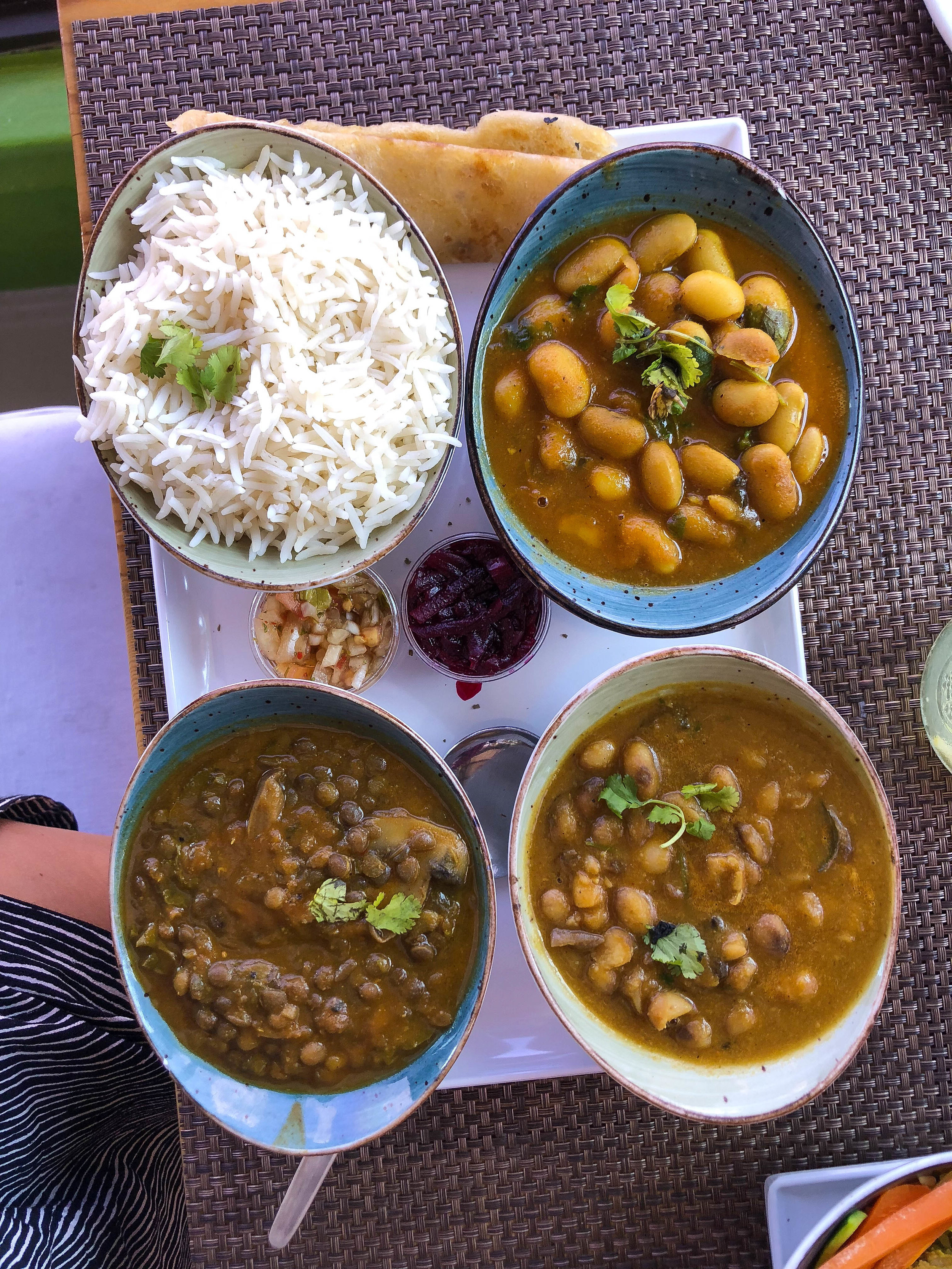 Butter bean curry, sugar bean curry, and dal with spinach and mushrooms