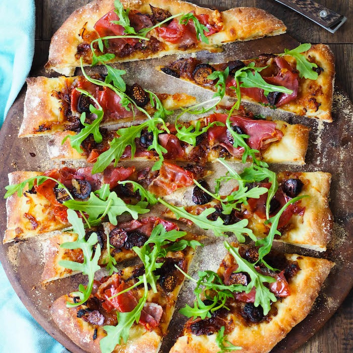 Caramelized Onion Flatbread with Figs and Prosciutto