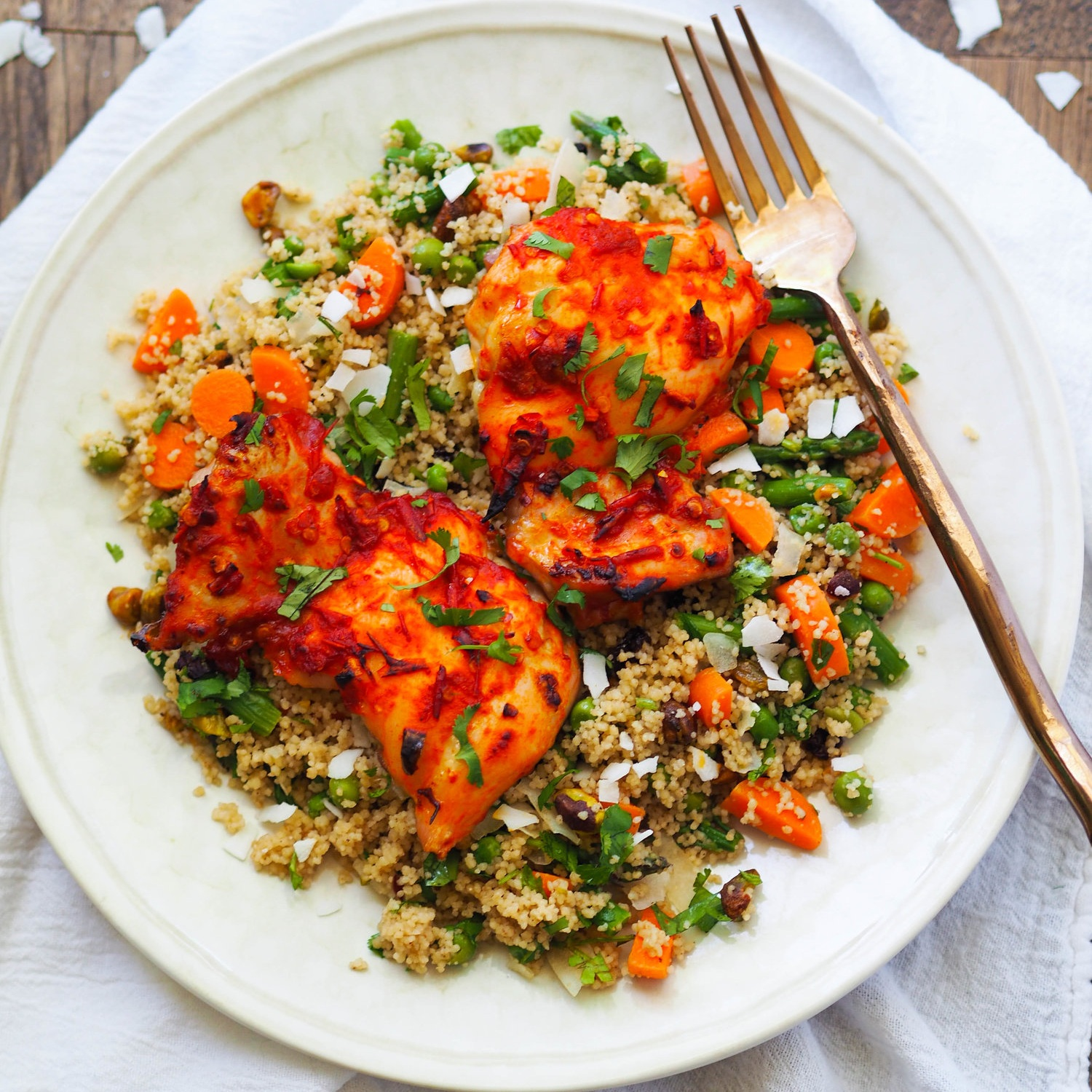Harissa Chicken with Spring Vegetable Coconut Couscous