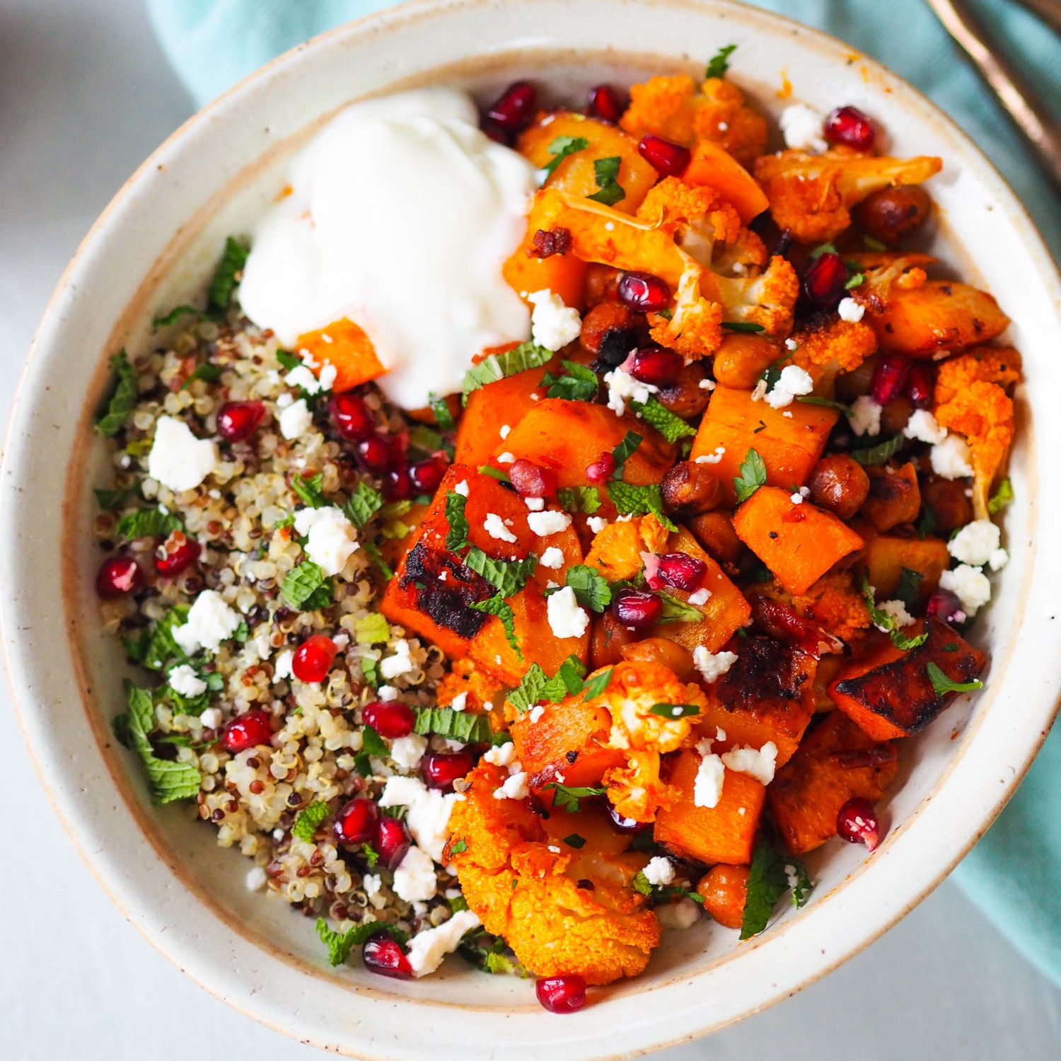 Harissa Roasted Butternut Squash and Cauliflower Chickpea Bowl