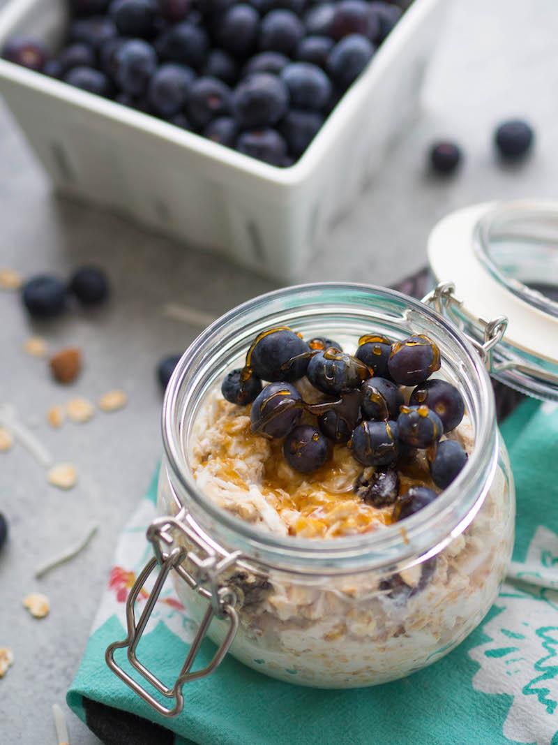 Mix coconut cherry muesli with yogurt and mix for a satisfying, fiber-packed breakfast! #muesli #breakfast #cherry #vegetarian #healthybreakfast #overnightoats #birchermuesli #homemade #cereal #vegan