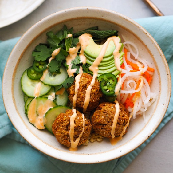 Banh Mi Bowl with Lemongrass Tofu Balls
