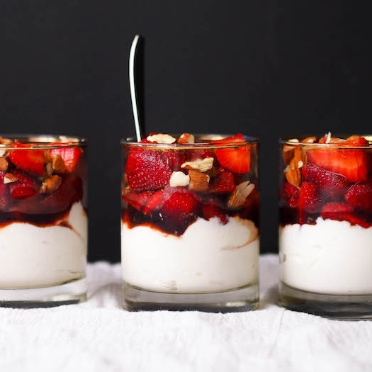 Balsamic Macerated Strawberry Yogurt Cups