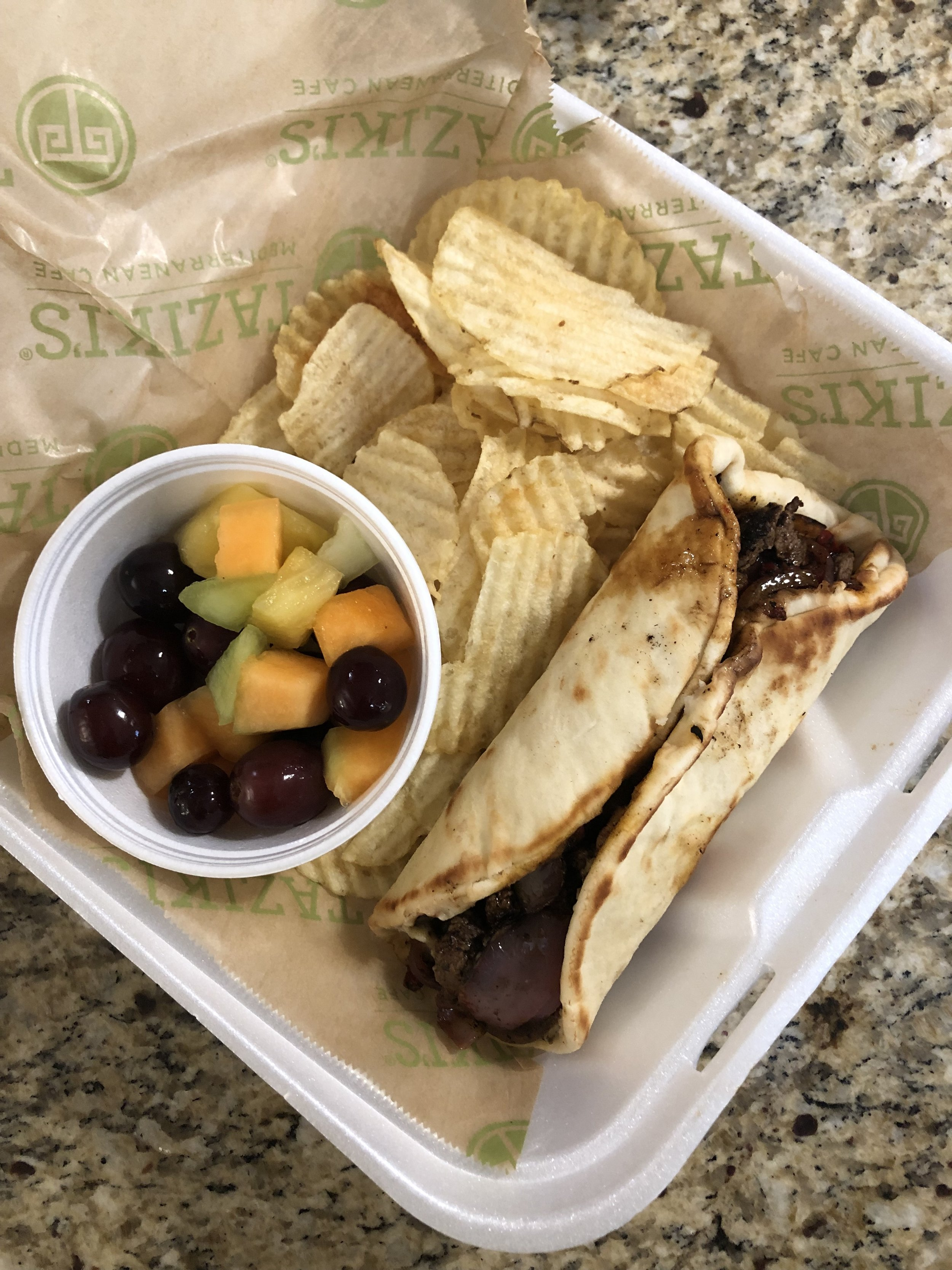 …ohhh and lots of different carbs here from chips, pita and fruit!….