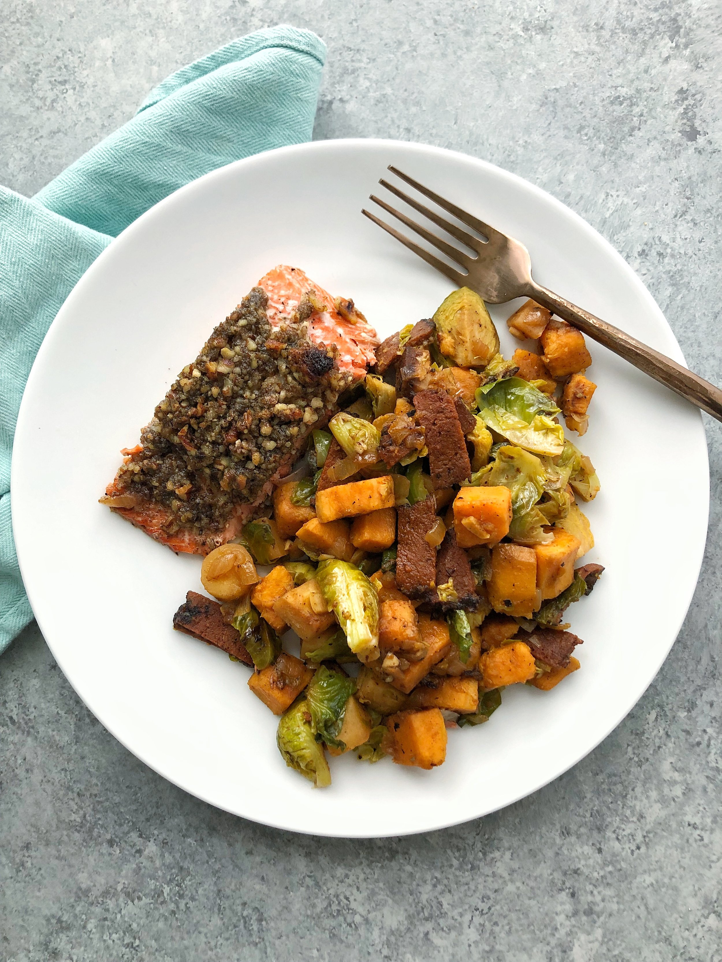 …and also different carbs in this sweet potato, butternut and parsnip hash I made to go with pecan-dill salmon!