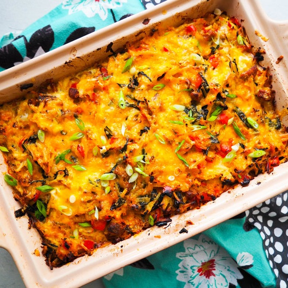 Hash Brown Breakfast Casserole with Kale and Peppers