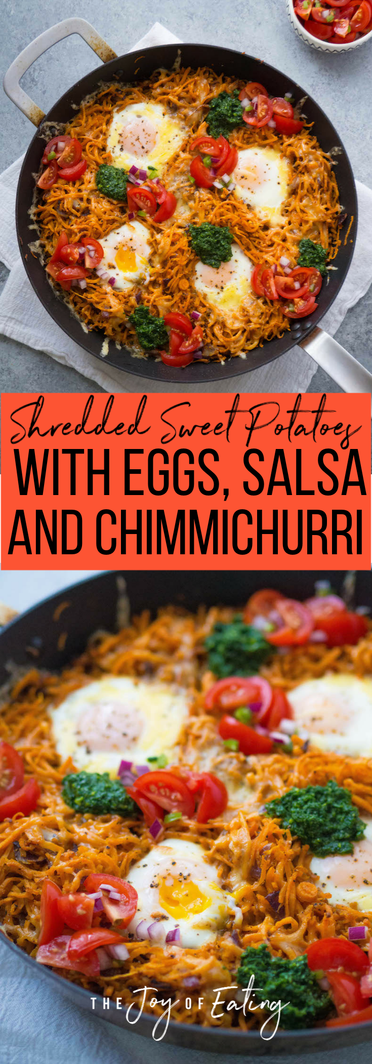 Shredded Sweet Potatoes with Eggs, Chimichurri and Fresh Salsa! It's an easy budget friendly dinner that's super satisfying! You'll love all the smoky spices! #sweetpotato #glutenfree #vegetarian #healthy #recipe
