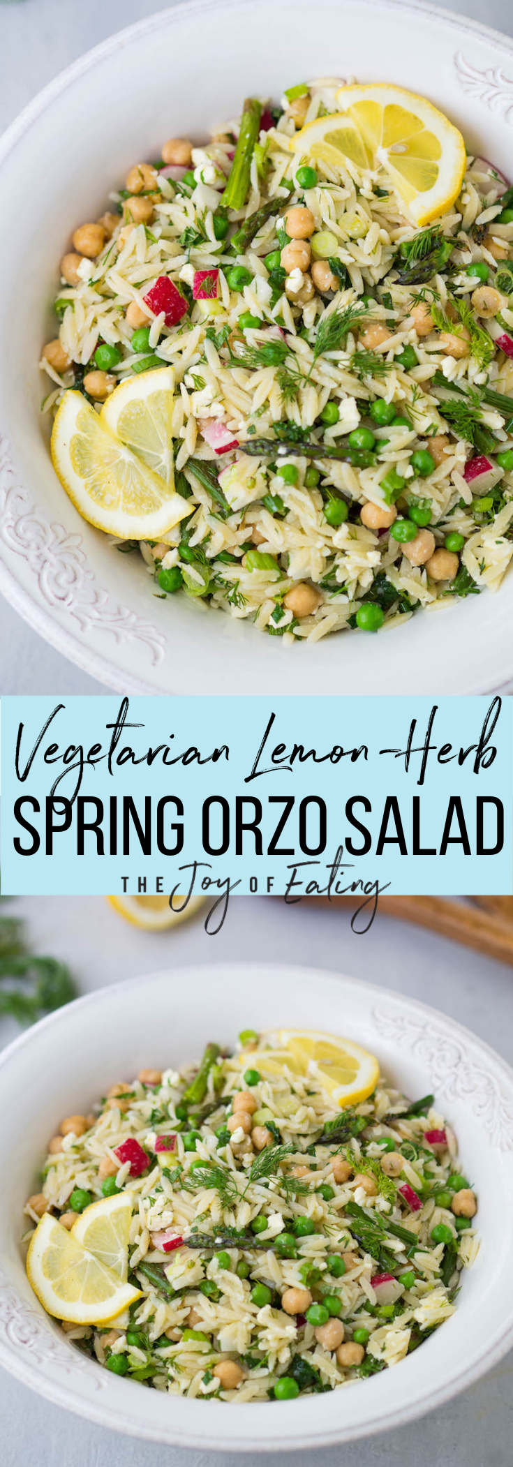The BEST Spring Lemon-Herb Orzo Salad! It's so easy to make and packed with fresh flavors from tons of herbs, lemon juice, feta cheese and crunchy peppery radish!