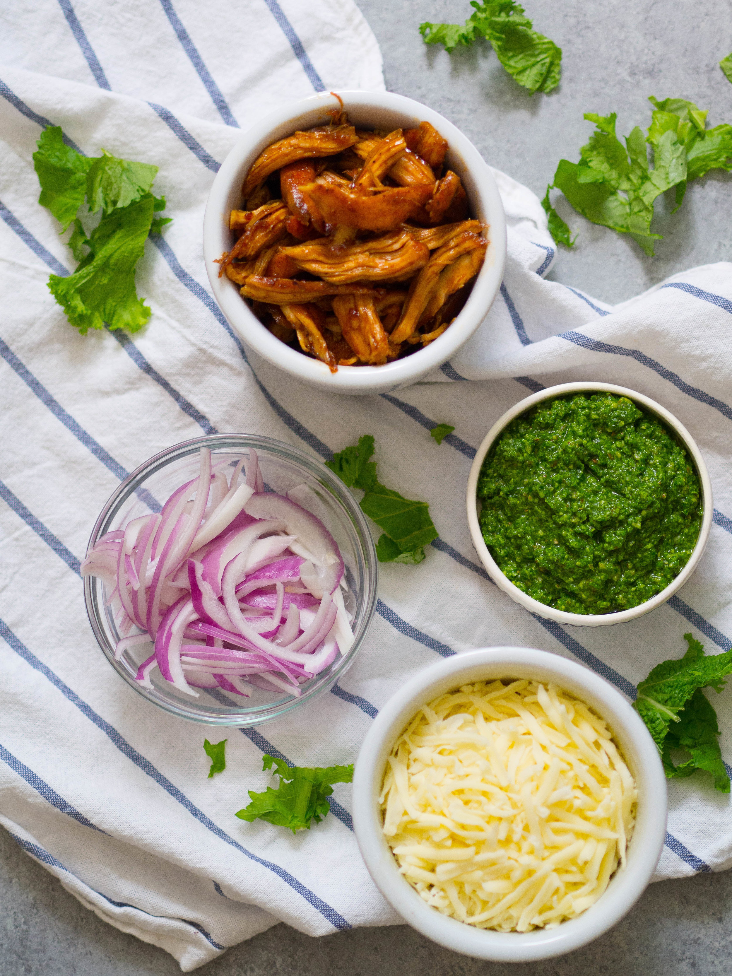 Ingredients for Barbecue Chicken Pizza with Mustard Green Pesto