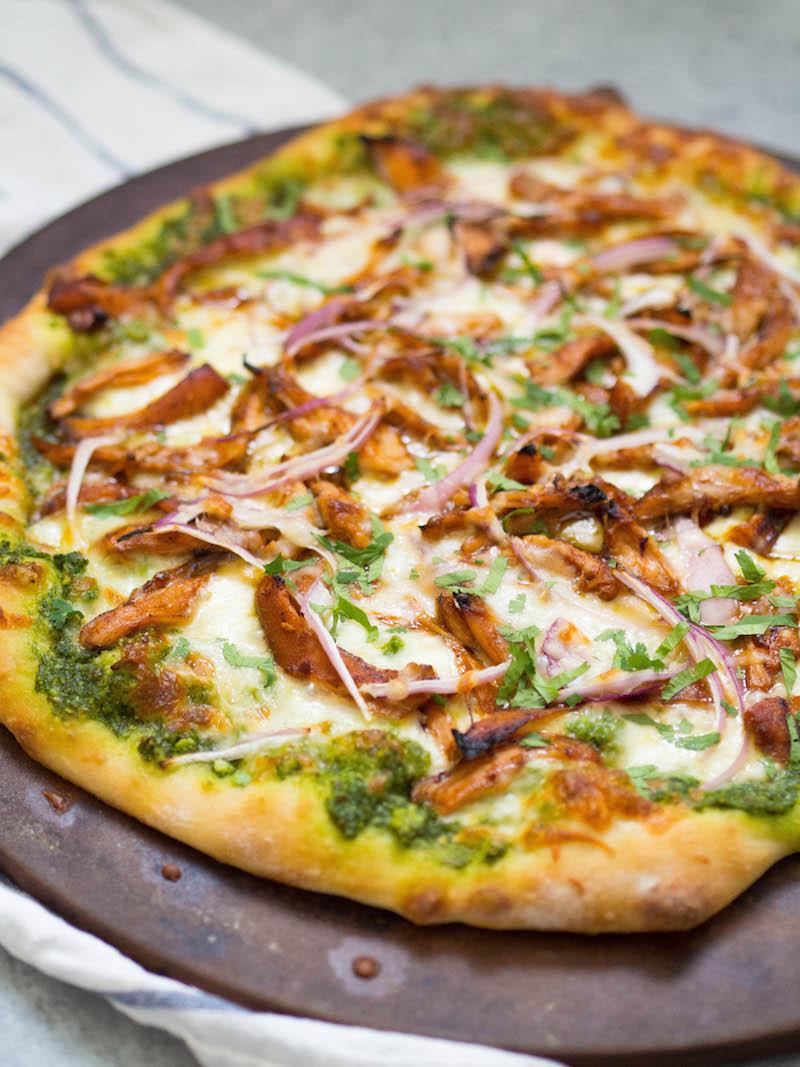Barbecue Chicken Pizza with Mustard Green Pesto