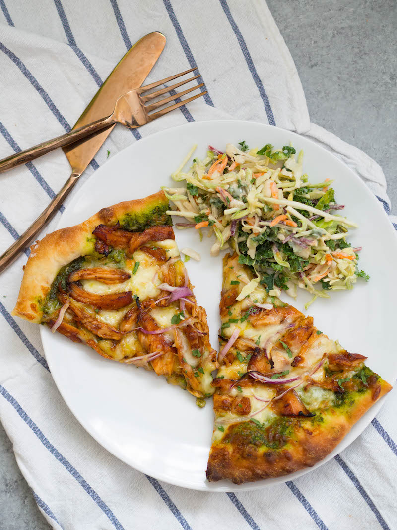 Barbecue Chicken Pizza with Mustard Green Pesto with side salad