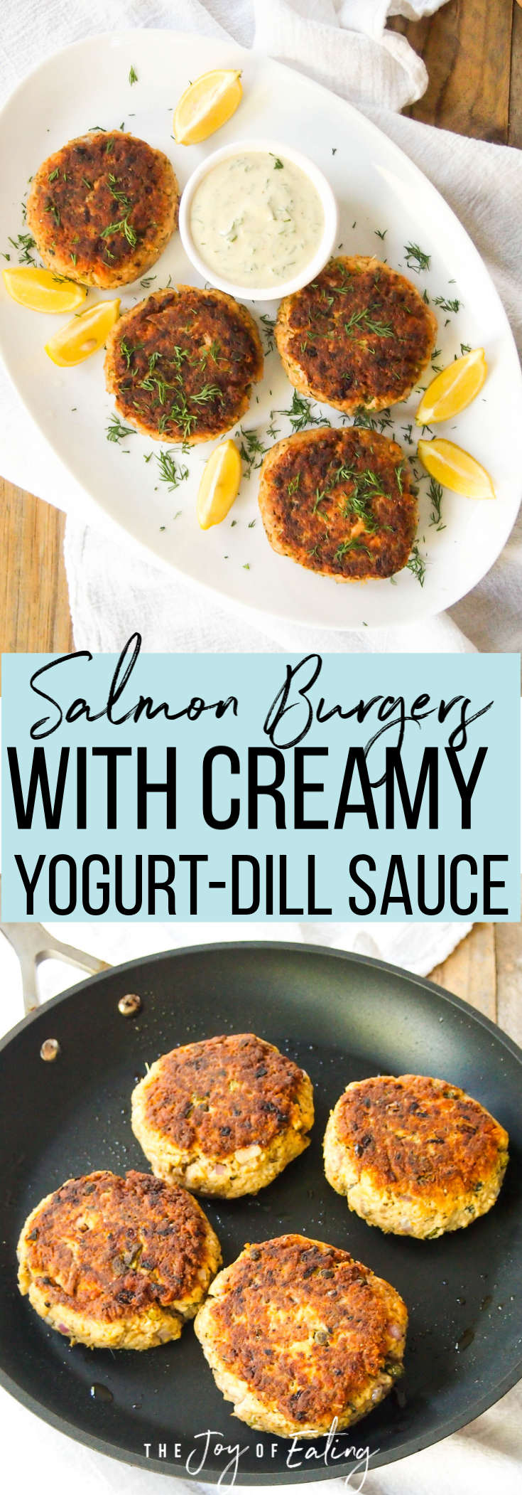 Easy salmon burgers served with a creamy yogurt-dill sauce! It's a budget friendly way to enjoy fatty fish! #cannedsalmon #cannedfish #burger #salmon #healthyrecipe #easyrecipe